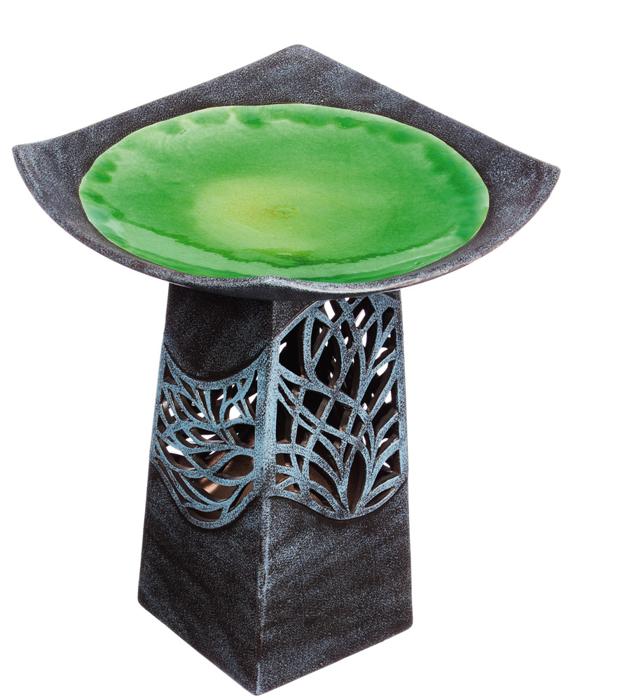 Evergreen Intricate Tree Led Hand Glazed Ceramic Bird Bath
