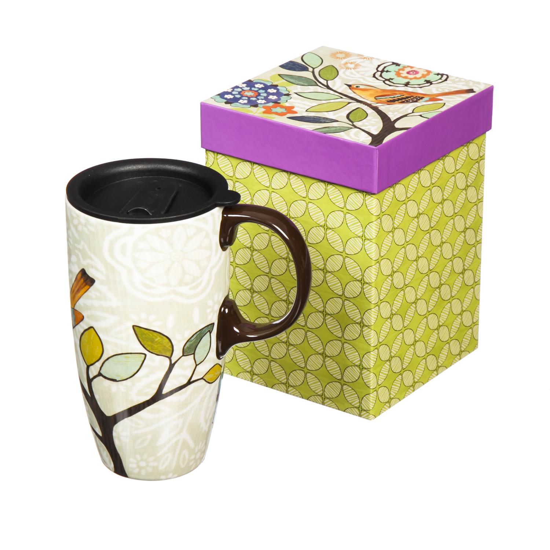 Bird And Flower Bliss Ceramic Travel Coffee Mug Ebay