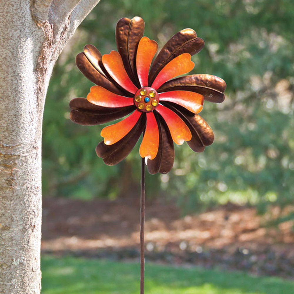 Orange Beaded Spiraling Flower Kinetic Garden Stake