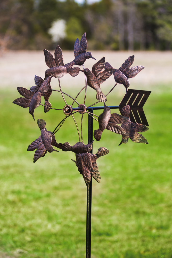 Antique Bronze Floating Hummingbirds Kinetic Garden Stake
