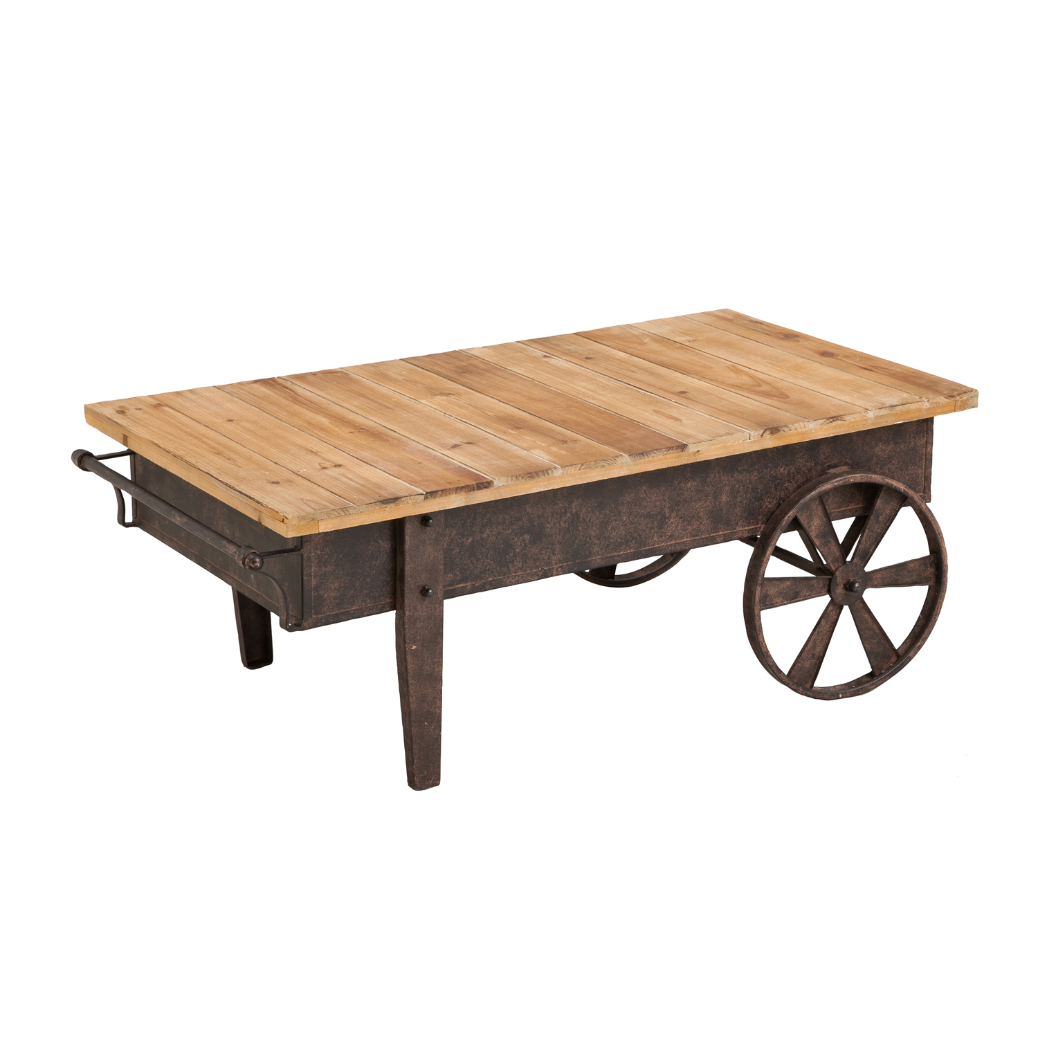 Vintage Wood Plank And Metal Cart Coffee Table